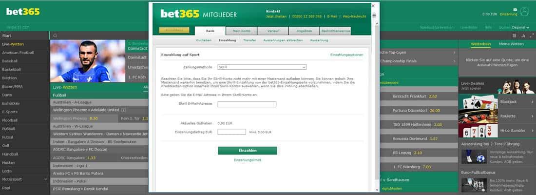 Bet365 Einzahlung