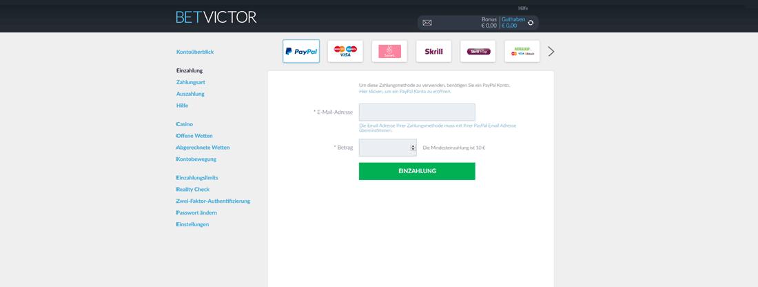 Einzahlung bei BetVictor