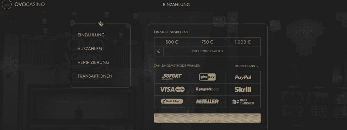 OVO Casino Einzahlung